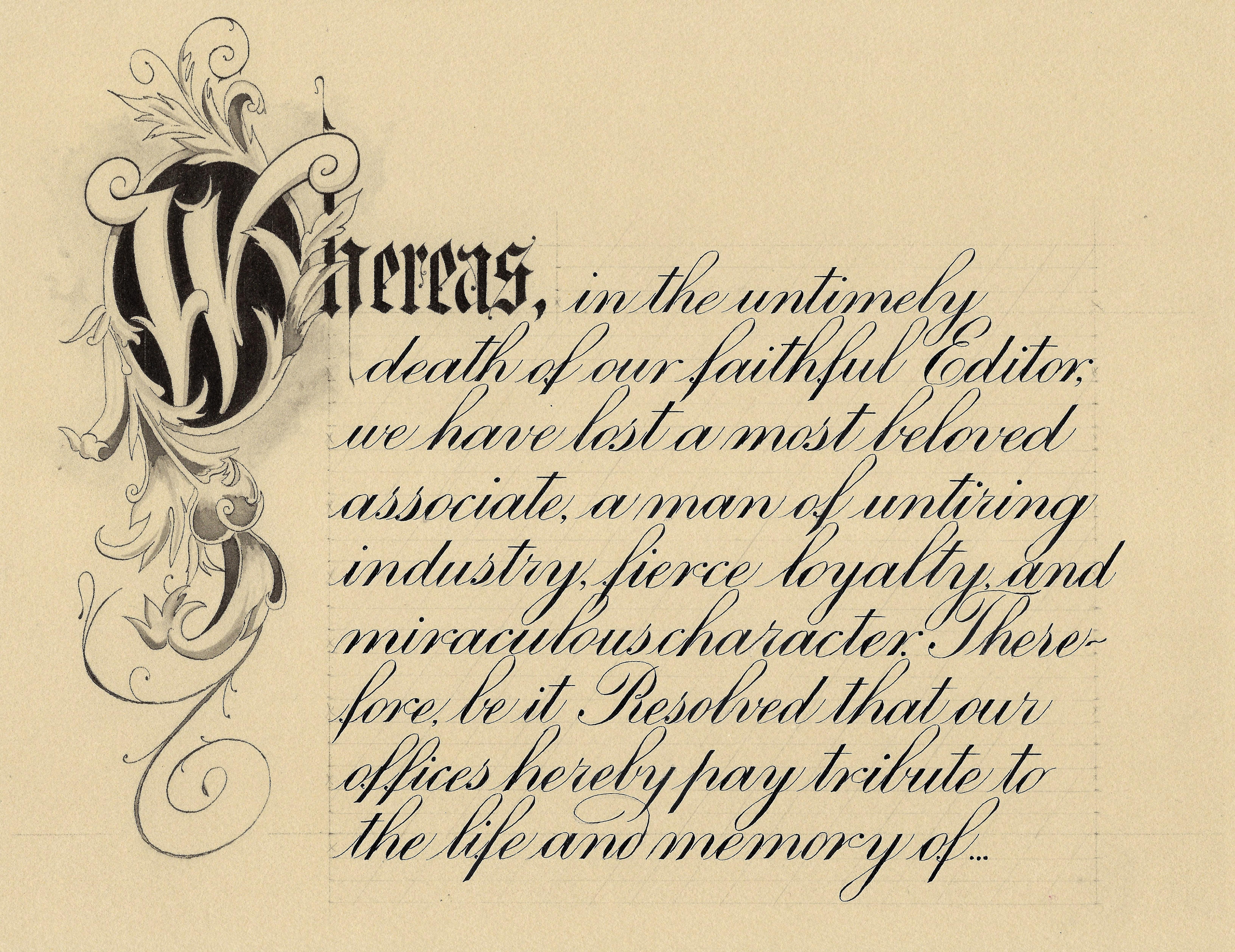 Gretchen N. Caldwell - Memorial page Engrosser's Script