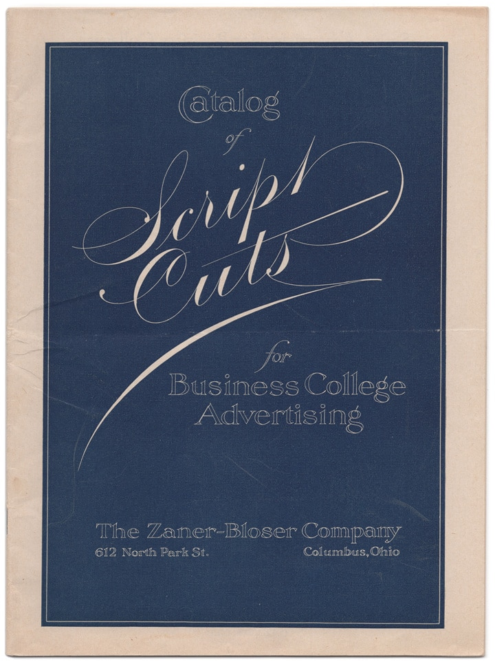 Masgrimes Catalog of Script Cuts for Business College Advertising