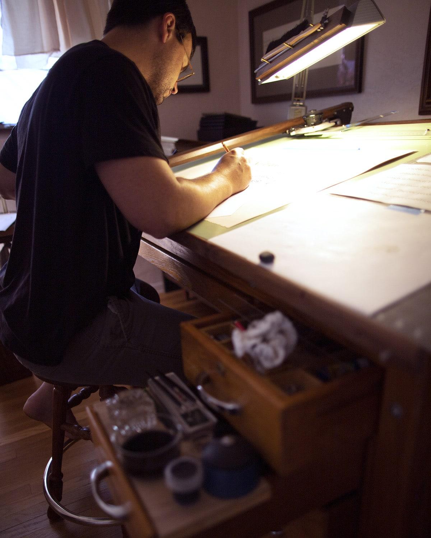 David Grimes, Penman at desk